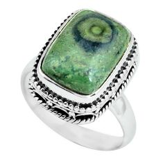 6.76cts natural green kambaba jasper 925 silver solitaire ring size 7.5 p67527