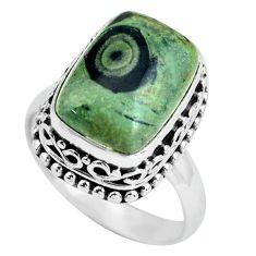 6.96cts natural green kambaba jasper 925 silver solitaire ring size 7.5 p67529