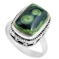 6.32cts natural green kambaba jasper 925 silver solitaire ring size 7.5 p67530