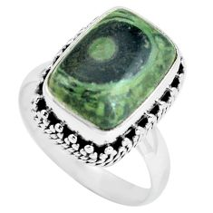 6.54cts natural green kambaba jasper 925 silver solitaire ring size 8 p67531