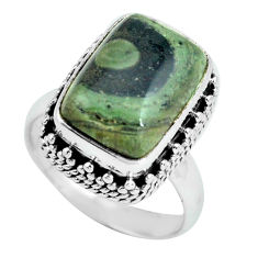 6.32cts natural green kambaba jasper 925 silver solitaire ring size 6.5 p67534