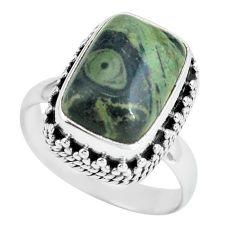 6.76cts natural green kambaba jasper 925 silver solitaire ring size 8 p67535