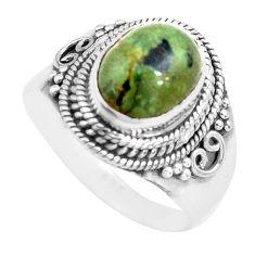 4.22cts natural green kambaba jasper 925 silver solitaire ring size 8 p71735