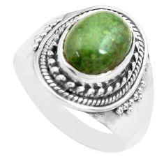 4.51cts natural green kambaba jasper 925 silver solitaire ring size 8 p71736