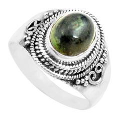 4.22cts natural green kambaba jasper 925 silver solitaire ring size 8.5 p71737