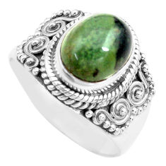 4.21cts natural green kambaba jasper 925 silver solitaire ring size 8.5 p71739