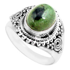 4.22cts natural green kambaba jasper 925 silver solitaire ring size 7.5 p71740
