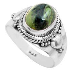 3.01cts natural green kambaba jasper 925 silver solitaire ring size 7 p71753
