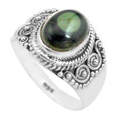 4.40cts natural green kambaba jasper 925 silver solitaire ring size 8 p71757