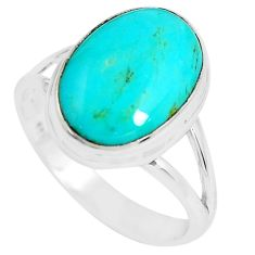 5.95cts natural green kingman turquoise 925 silver solitaire ring size 8 p65491