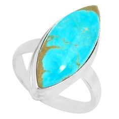 13.66cts natural green kingman turquoise 925 silver solitaire ring size 8 p71342