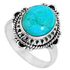 5.01cts natural green kingman turquoise silver solitaire ring size 8.5 p33109