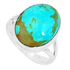 13.15cts natural green kingman turquoise silver solitaire ring size 8.5 p65500