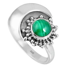 1.41cts natural green malachite (pilot's stone) 925 silver ring size 7 d32584
