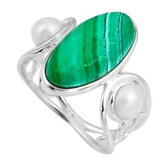 8.26cts natural green malachite (pilot's stone) 925 silver ring size 7 p92544