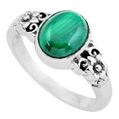 Natural green malachite (pilot's stone) 925 silver solitaire ring size 9 p55812