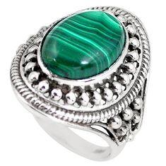 Natural green malachite (pilot's stone) 925 silver solitaire ring size 9 p61152