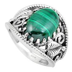 Natural green malachite (pilot's stone) silver solitaire ring size 7 p55977
