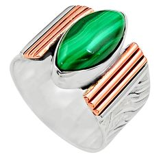 6.54cts natural green malachite 925 silver 14k gold solitaire ring size 7 p81007