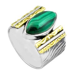 7.08cts natural green malachite 925 silver 14k gold solitaire ring size 7 p87925