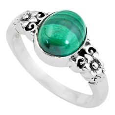 4.82cts natural green malachite 925 silver flower solitaire ring size 8 p61107