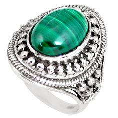 6.61cts natural green malachite 925 silver solitaire ring size 8.5 p56035