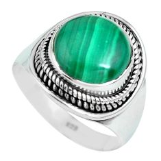 6.83cts natural green malachite 925 silver solitaire ring size 8 p70281