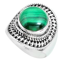 6.33cts natural green malachite 925 silver solitaire ring size 8 p70282