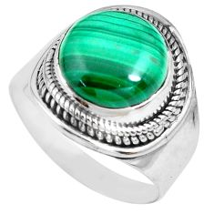 6.46cts natural green malachite 925 silver solitaire ring size 8.5 p70286