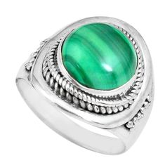 6.53cts natural green malachite 925 silver solitaire ring size 7 p70292