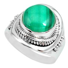 6.35cts natural green malachite 925 silver solitaire ring size 8.5 p70295