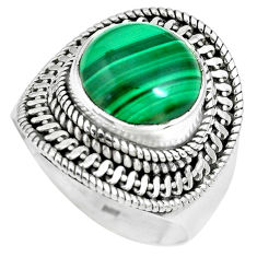 6.72cts natural green malachite 925 silver solitaire ring size 8.5 p70318