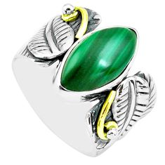 6.76cts natural green malachite 925 silver solitaire ring size 6.5 p77192