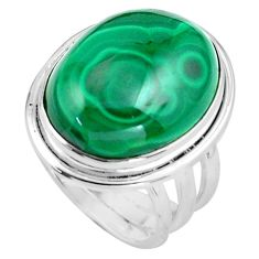15.64cts natural green malachite 925 silver solitaire ring size 7 p86082
