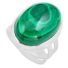 16.25cts natural green malachite 925 silver solitaire ring size 5 p86097