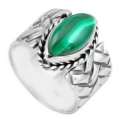 6.42cts natural green malachite 925 silver solitaire ring size 7.5 p87966