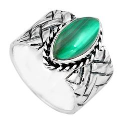 6.01cts natural green malachite 925 silver solitaire ring size 8 p87967