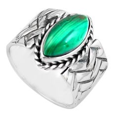 6.42cts natural green malachite 925 silver solitaire ring size 8.5 p87969