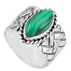 6.31cts natural green malachite 925 silver solitaire ring size 7 p87970