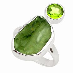 10.02cts natural green moldavite (genuine czech) 925 silver ring size 7 p80241