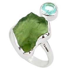 9.05cts natural green moldavite (genuine czech) 925 silver ring size 8 p80252