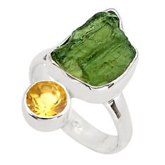 7.97cts natural green moldavite (genuine czech) 925 silver ring size 6 p80254