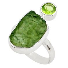 9.61cts natural green moldavite (genuine czech) 925 silver ring size 9 p80262