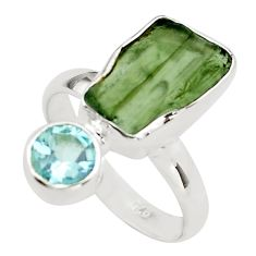 8.56cts natural green moldavite (genuine czech) 925 silver ring size 7 p80263