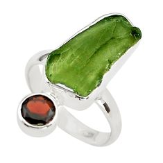 9.61cts natural green moldavite (genuine czech) 925 silver ring size 8 p80266