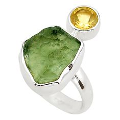 6.43cts natural green moldavite (genuine czech) 925 silver ring size 6 p80271