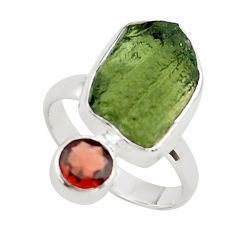 8.44cts natural green moldavite (genuine czech) 925 silver ring size 8 p80278
