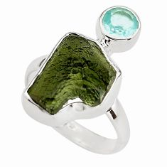 8.80cts natural green moldavite (genuine czech) 925 silver ring size 8 p80279