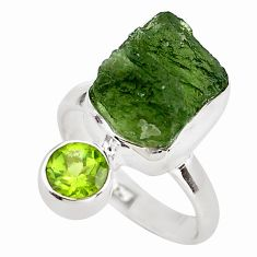 8.80cts natural green moldavite (genuine czech) ring size 7 p80242