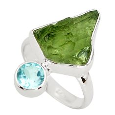 8.42cts natural green moldavite (genuine czech) topaz silver ring size 7 p80243